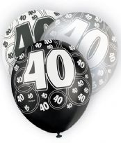 Black Glitz Age 40 Latex Balloons (6)